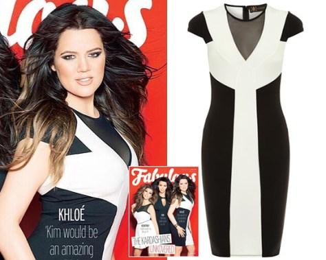 Kardashian Kollection black and white panelled dress