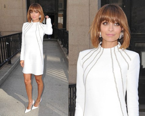Nicole Richie wearing Saint Laurent Chain Embellished Cady Dress