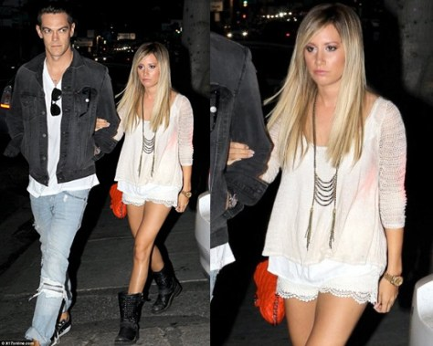 Ashley Tisdale leaving dinner wearing Free People Twisted Tea Top