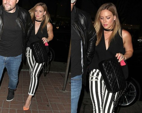 Hilary Duff wearing A.L.C. Shay Top with Paige Edgemont Skinny Jeans