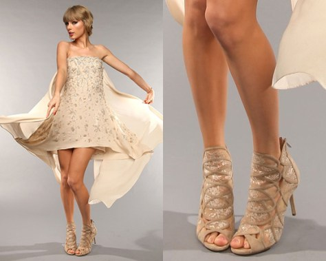 Taylor Swift in Elie Saab dress and Jimmy Choo Fauna Lace-Suede Cage Sandals