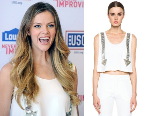 Brooklyn Decker wearing a Chloe Arrow Tank in Milk