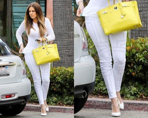 Khloe Kardashian wearing Splendid Tee and J Brand Embroidery Skinny Jeans