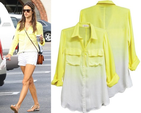 Alessandra Ambrosio wearing a dip dye Bella Dahl Patch Pocket Button Down Shirt