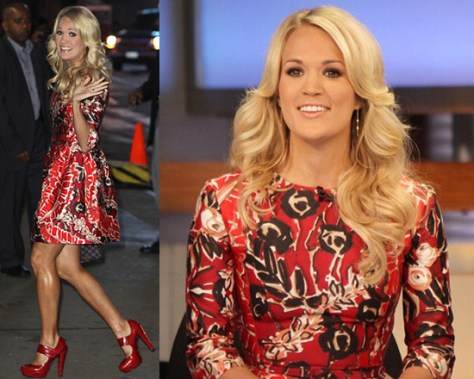 Carrie Underwood wearing Oscar de la Renta Scoop Neck Dress on Good Morning America