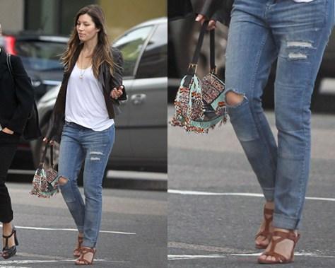 Jessica Biel steps out in AllSaints Patch Casey Jeans