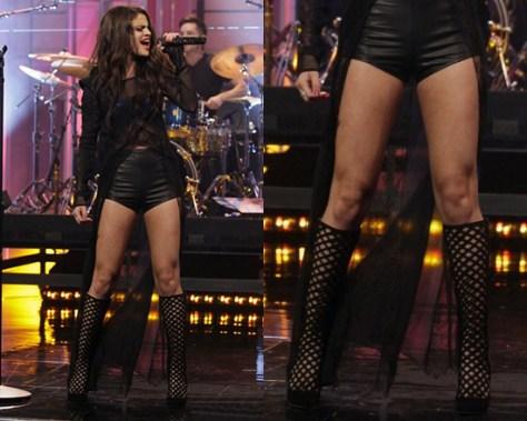 Selena Gomez wearing Jimmy Choo Delta Suede Lattice Knee-High Boots