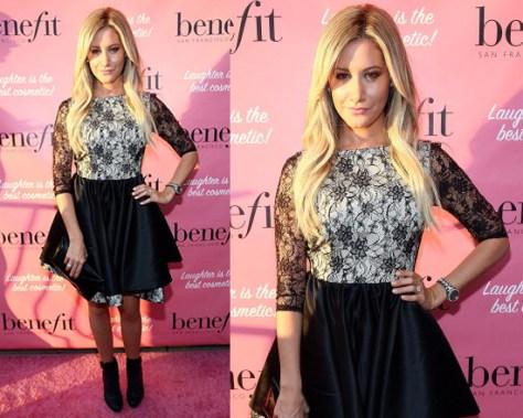 Ashley Tisdale in Alice + Olivia Katelin Boatneck Double Layer Dress