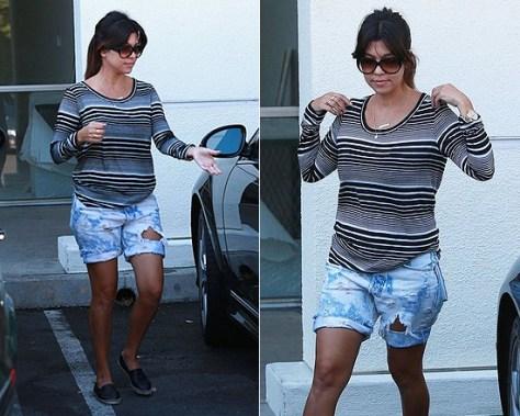 Kourtney Kardashian in Whetherly Sunset Stripe Tee