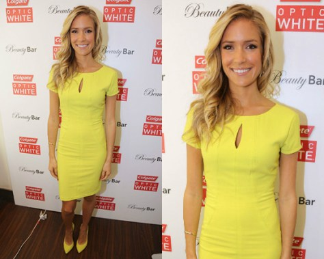 Kristin Cavallari in BCBGMAXAZRIA Paneled Crepe Keyhole Dress