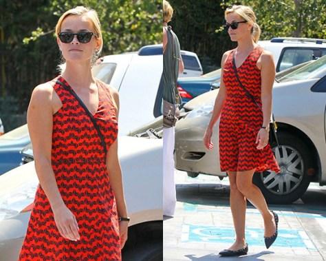 Reese Witherspoon in 10 Crosby Derek Lam Sleeveless Printed Godet Dress