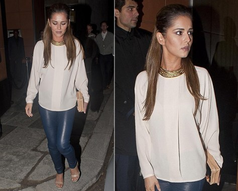 Cheryl Cole in J Brand Luciana Top and Helmut Lang Plonge Leather Leggings