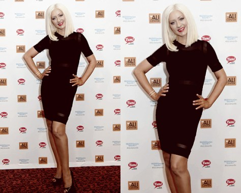 Christina Aguilera in Torn by Ronny Kobo Lourdes Mesh Dress