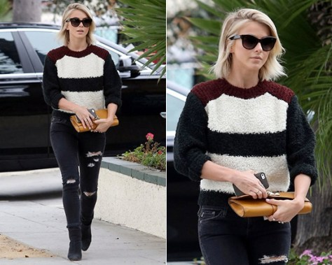 Julianne Hough wearing a Isabel Marant Owel Colorblock Knit Sweater
