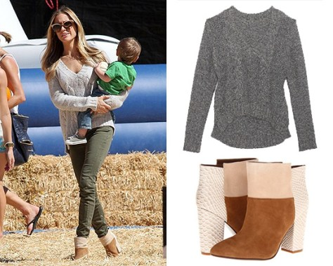 Kristin Cavallari hits the pumpkin patch in Mason By Michelle Mason Cropped Tweedy Knit Sweater