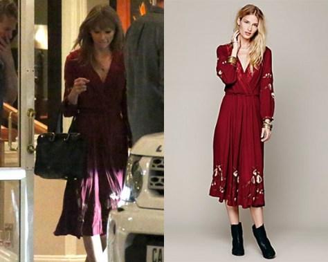 Taylor Swift in Free People New Romantics Field Day Dress in Sweet Wine