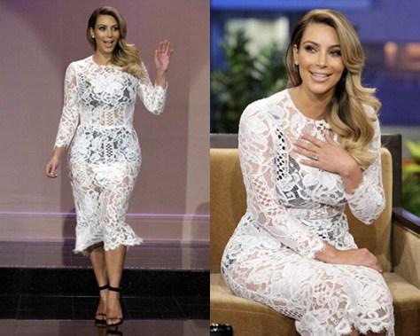 Kim Kardashian wearing Dolce & Gabbana Scalloped Lace Midi Dress on Jay Leno