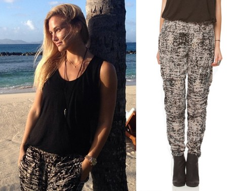 Bar Refaeli Gypsy05 Foundation Linen Muscle Tank + Velvet Burnout Tapered Pant