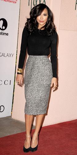 Naya Rivera Michael Kors Tweed Peplum Skirt