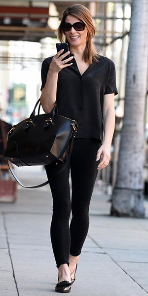 Ashley Greene wearing Jimmy Choo Gala mirrored-leather point-toe flats