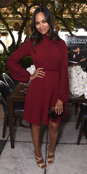 Zoe Saldana in a burgundy Giamba dress and nude Jimmy Choo 'Lottie' Sandals at the Hollywood Reporter stylists' luncheon in LA - March 18, 2015