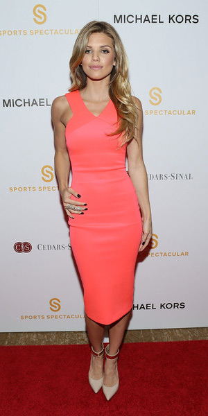 AnnaLynne McCord in a orange Ted Baker Vadena Dress and beige Fergie Palace pumps - Sports Spectacular Luncheon in Beverly Hills, CA (March 25, 2015)