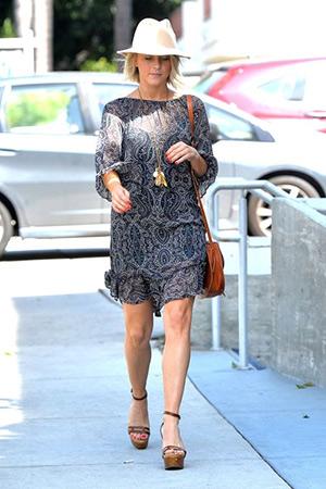 Julianne Hough out in L.A. wearing a Ella Moss Baroque Print Silk Chiffon Ruffle Dress - April 3, 2015