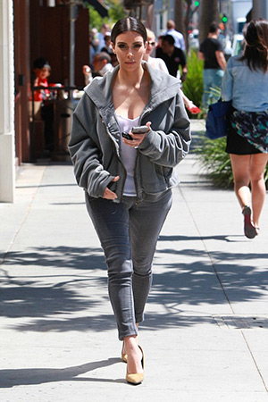 Kim Kardashian wearing a Haider Ackermann Cotton hoodie while out and about in L.A. - April 6, 2015