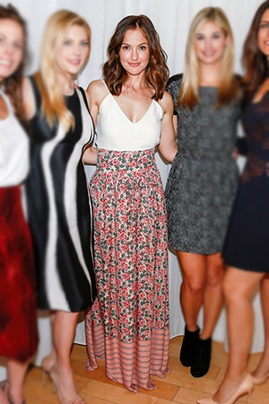 Minka Kelly in The Great. The Opera Skirt, Jennifer Fisher ring and Minka Kelly x fashionABLE The Hibret Zippered Pouch - March 25, 2015
