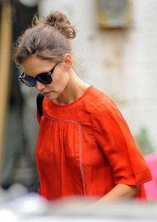 "Katie Holmes wearing a Isabel Marant Embellished Midja Blouse while arriving to the set of ""All We Had"" in New York City on August 24, 2015."