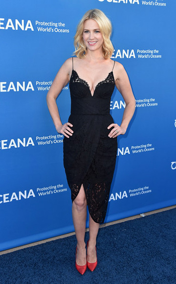January Jones wearing a Zimmermann Arcadia Lace Underwire Dress to the 'Concert For Our Oceans' hosted by Seth MacFarlane benefitting Oceana on September 28, 2015 in Beverly Hills, CA.