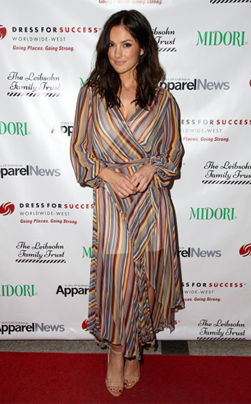 Zimmermann Ticking Striped Wrap Midi Dress as seen on Minka Kelly