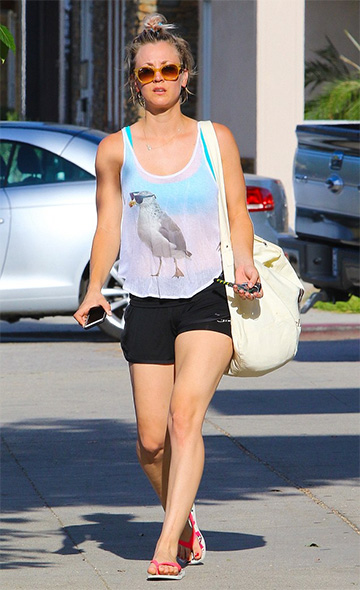 Kaley Cuoco leaving the gym in a Wildfox Cool Gull Tank Top, June 2015