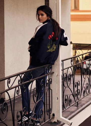 Selena Gomez wearing a Stella Mccartney Lorinda Bomber Jacket for Instyle Magazine UK January 2016.
