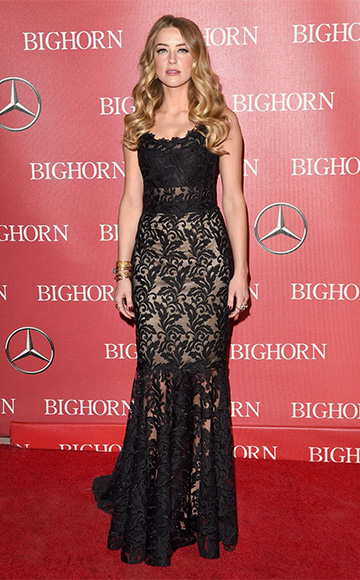 Dolce & Gabbana Sleeveless Round-Neck Lace Gown as seen on Amber Heard