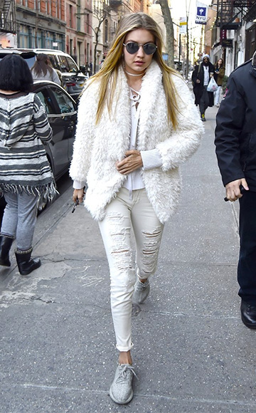 Nili Lotan Lace-Up V-Neck Sweater as seen on Gigi Hadid