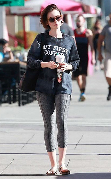 "Tyler Jacobs ""But First, Coffee"" Billie Long Sleeve Tee as seen on Lily Collins"