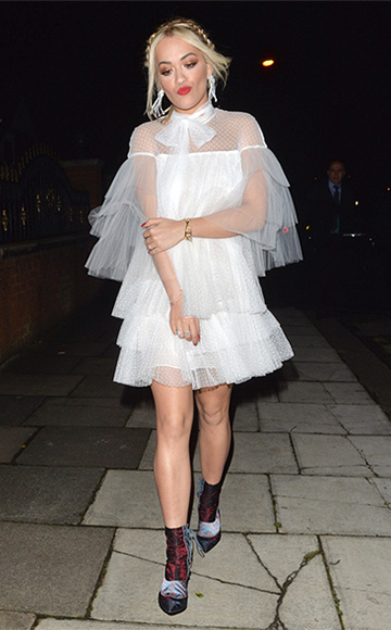 Valentino Tiered lace and tulle mini dress as seen on Rita Ora