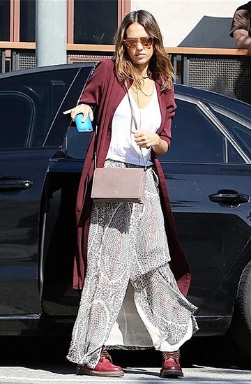 Isabel Marant Sesley Printed Wrap Maxi Skirt as seen on Jessica Alba