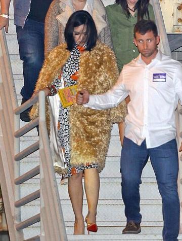 Essentiel Leopard Printed Silk Satin Dress as seen on Katy Perry