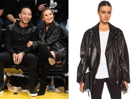 Acne Studios More Leather Jacket as seen on Chrissy Teigen