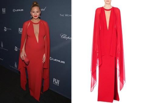 Michael Kors Collection Met Wool-crepe Gown as seen on Chrissy Teigen