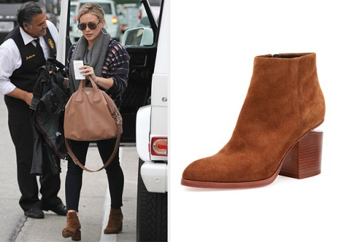 Alexander Wang Gabi Suede Tilt-Heel Booties as seen on Hilary Duff