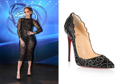 Jennifer Lopez Christian Louboutin Top Vague Crystal Pumps
