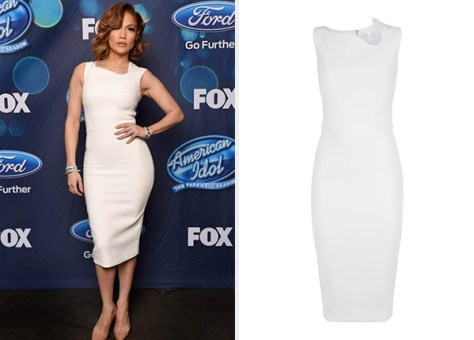Victoria Beckham Sleeveless Asymmetric-Neck Sheath Mini Dress as seen on Jennifer Lopez