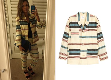 H&M Light Beige Striped Silk-Blend Jacket as seen on Jessica Alba