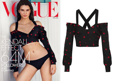 Proenza Schouler Abstract Polka-Dot Off-The-Shoulder Crop Top as seen on Kendall Jenner for Vogue April 2016