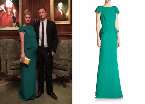 Carolina Herrera Stretch-Silk Georgette Peplum Gown as seen on Nicky Hilton
