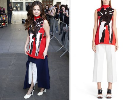 Marni Cutout Back Sequined Floral Top as seen on Selena Gomez