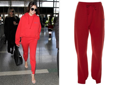 Selena Gomez at LAX in Vetements Cut-Out Cuffs Track Pants